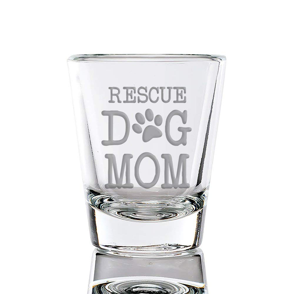 Rescue Dog Mom Engraved Fluted Shot Glass