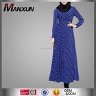 high grade manxun striped dress arabic muslim women party dress