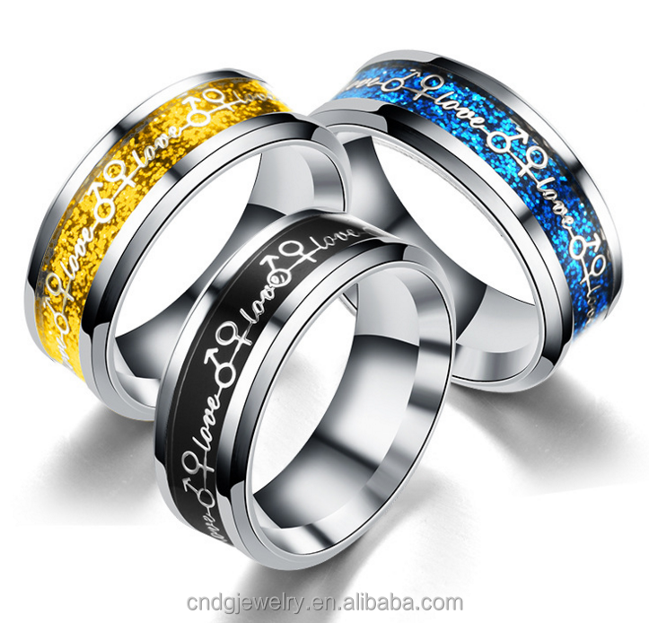 Hot Sell Models 5 gram gold ring with gender symbol eternal titanium steel insert closure glaze micro Couple Ring