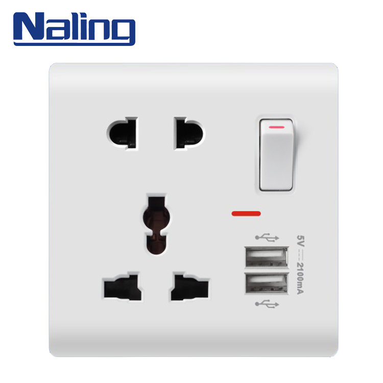 Naling Popular Wholesale Items Smart Pakistan 1 Gang 2 Way Wall Switch And Socket With Usb