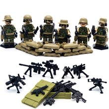 6 pcs lot SWAT World War II Troops military Kid Baby Toy Mini Figure Building Blocks