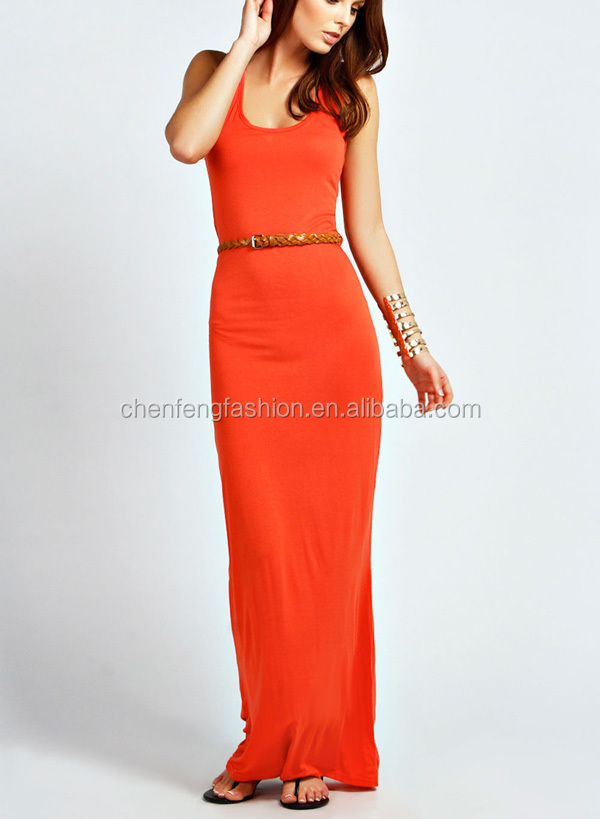 CHEFON Racer back floor length orange long sleeveless maxi dresses