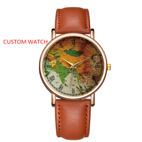Custom Your Own Logo Watch Genuine Leather Personalized Wrist Picture Watches World Map Printed Watch Dial Customized