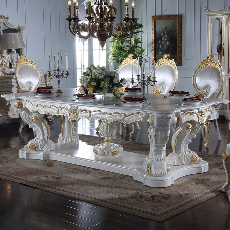 Italian style dining room furniture-hand carving leaf gilding <strong>table</strong>