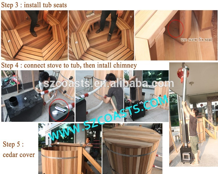 Most popular red ceder wood fired stove  round outdoor hot tub