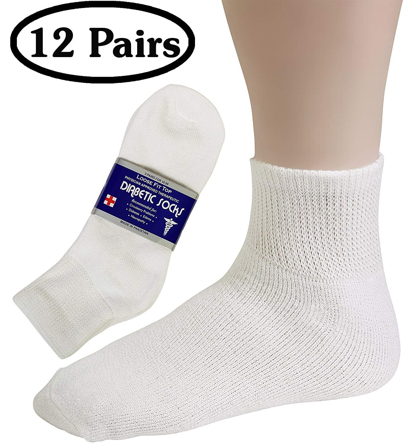62996af652 Get Quotations · Debra Weitzner Mens Womens Diabetic Socks - Crew Ankle -  Non Binding - 12 Pairs…