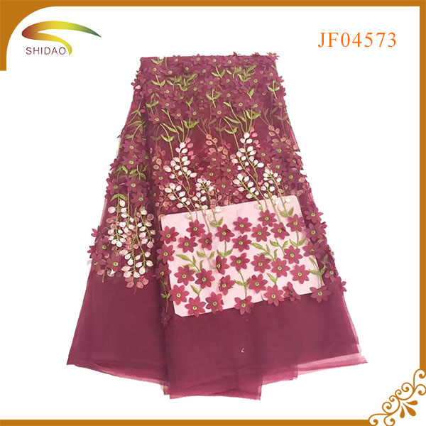 New Arrival Hot Selling High Quality GZ 3d Flower Embroidered lace fabric for Evening Dress