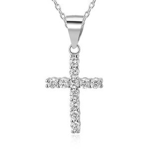 POLIVA Hot Selling Jesus Style Jewelry 925 Sterling Silver Cz Cubic Zirconia Cross Pendant