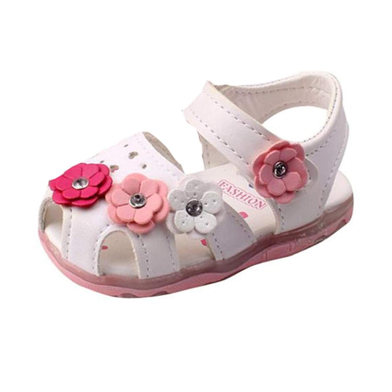 Hot Sale!Sunyastor Toddler New Flowers Girls Lighted Soft-Soled Slipper Flats Bowknot Princess Baby Shoes Sandals