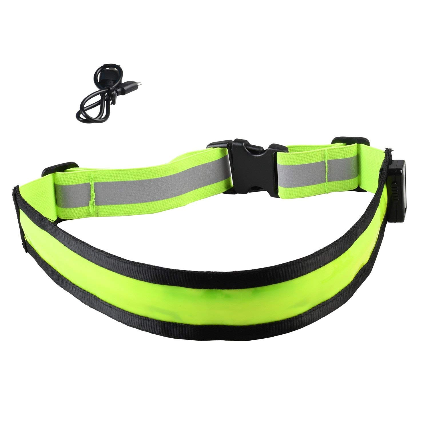 LED Light Up Running Belt Reflective Waist Belt USB Rechargeable Safety Lights Fully Adjustable Elastic Glowing Band & High Visibility Gear for Running Walking Cycling, Fits Women Men & Kids