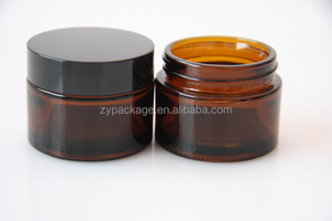 Amber Glass Wide Neck Cosmetic Bottle / Herb Jar 30ml with Black Lid