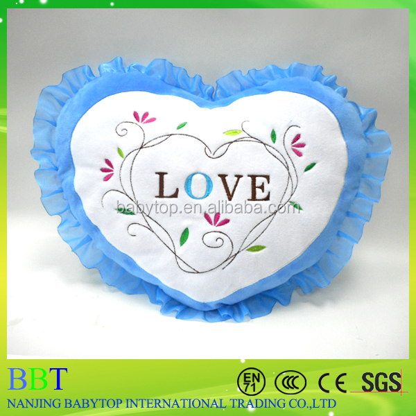 Super Soft High Quality Blue Heart Infant Side Sleeper Pillow