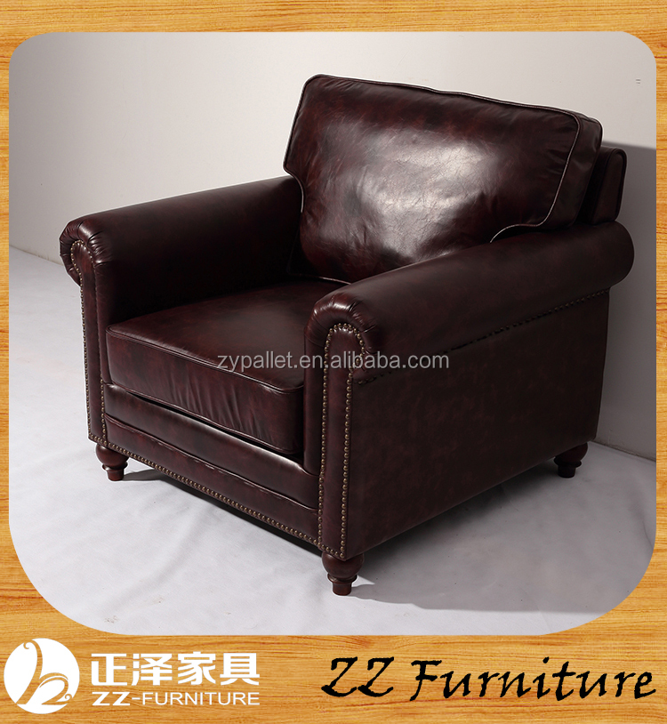 Fancy French country upholstered vintage style leather sofa for sale