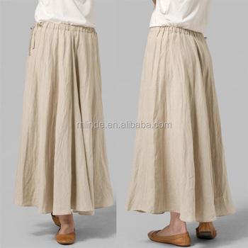 2dbe9b106c Las mujeres de moda Primavera Verano ropa suelta equipado de faldas Plus  tamaño de algodón elástico