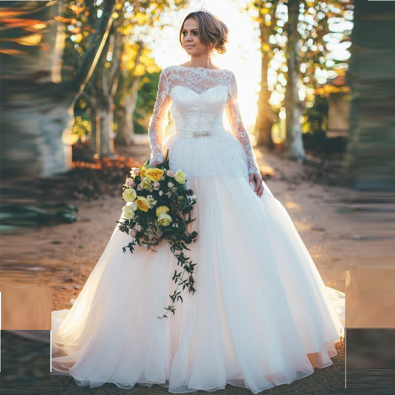 Princess Wedding Gowns With Sleeves: Back Open Sexy Princess Wedding Dresses With Long Sleeves