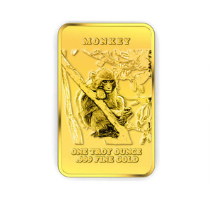 free design new year monkey collection metal OEM ODM fine 999 gold bars custom 1 oz gold bullion bars