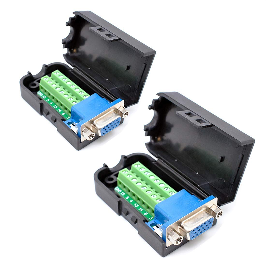 Oiyagai 2pcs DB15 3+9 D-SUB VGA Female 3Row 15Pin Connector Adaptor with NUT Terminal Breakout Board Free Welding