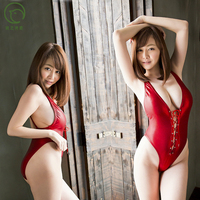 hot sale women's sexy red wild PU leather bodysuit strings closure breast lingerie erotic swimsuit