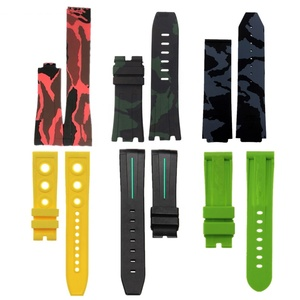 Custom 20mm 21mm 22mm 23mm 24mm 25mm 26mm 28mm 30mm Replacement Curve End Silicone Watch Band Camouflage Rubber Strap