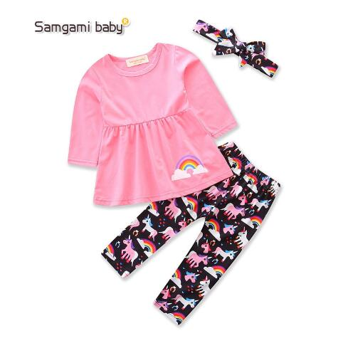 2017 long sleeve spring autumn cotton baby kid girl set
