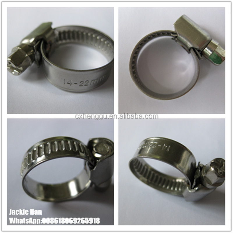 Hose clamp German type 14-22mm 3/4 inch W2 Nickel plated screw Hose clips
