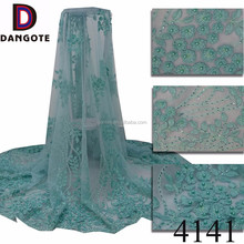 Graceful 3d flower lace aso ebi lace fabric dubai mint green lace fabric with rhinestones for party dresses 4141