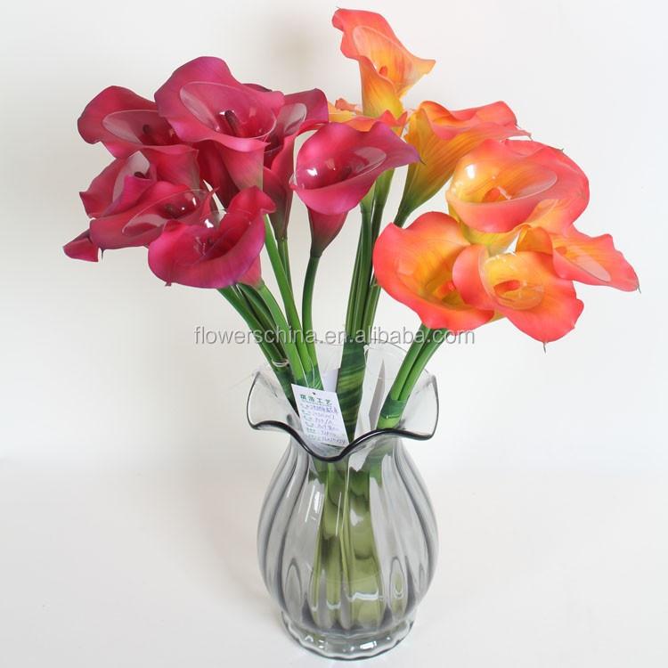 Material de flor artificial arreglos calla lirio de flores for Plantas decorativas de plastico