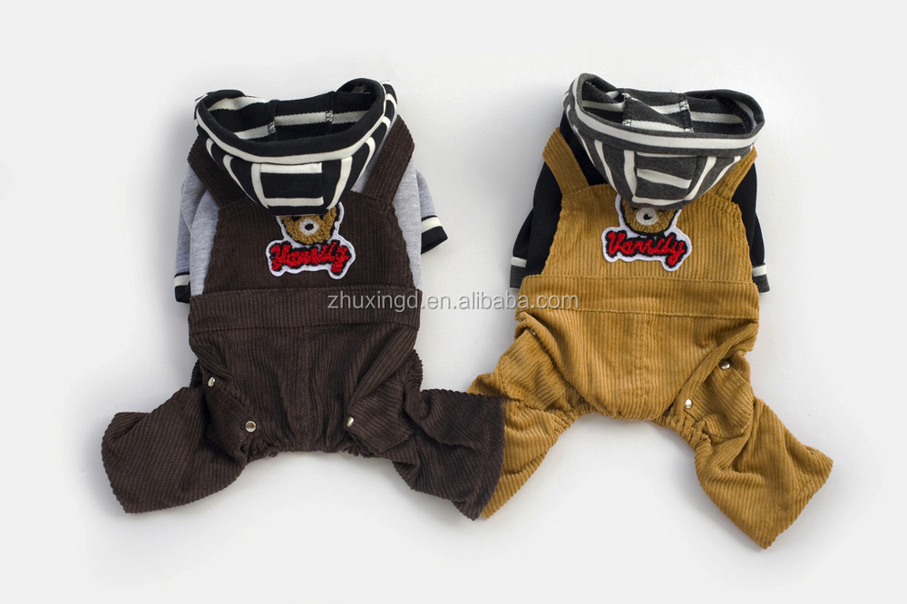 Pet apparel dog clothes, brown pet jumpsuit with bear pattern, pet clothes for dog