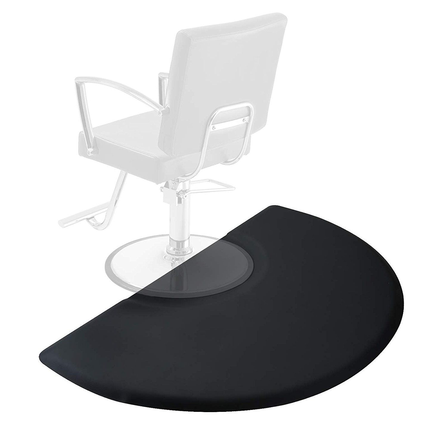 Saloniture 3 ft. x 5 ft. Salon & Barber Shop Chair Anti-Fatigue Floor Mat - Black Semi Circle - 5/8 in. Thick