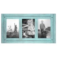 Custom Blue Collage Distressed Wood Photo Frame