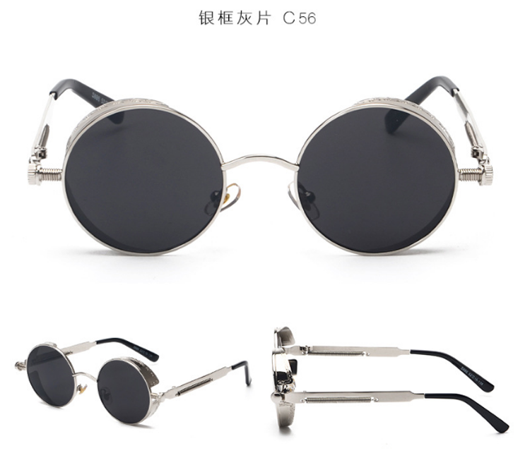 2d270e30f072 Ade Wu Высокое качество Ретро Женщины Круглые Солнцезащитные очки в стиле  стимпанк металлический каркас старинные круглые