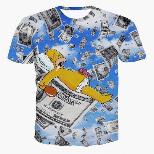 90abaaa4eb Get Quotations · OPCOLV New Fashion Women Men 3d cartoon drunken Simpsons t  shirt summer style funny money Tshirt