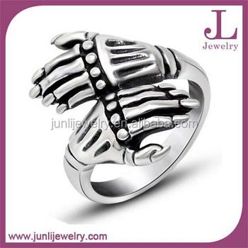 Stainless Steel Skull Hand Biker Wedding Rings Hip Hop Style Jewelry