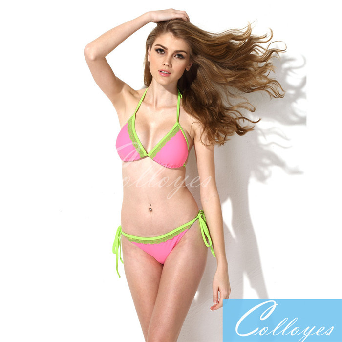 6af792a0fb Get Quotations · New colloyes Sexy Pink + Green Lace Triangle Top with  Classic Cut Bottom Bikini Swimwear