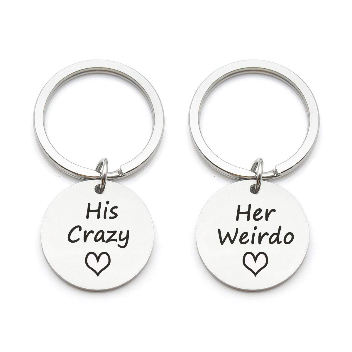 2a27e1eab5 2pcs Couples Keychain Gift- His Crazy Her Weirdo, Best Gift for Boyfriend  Girlfriend Husband