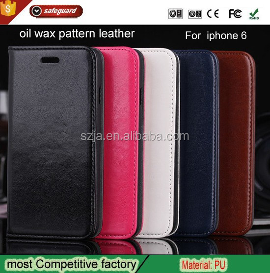 For iphone 6 mobile phone shell oil wax pattern leather around the card protective sleeve cover case
