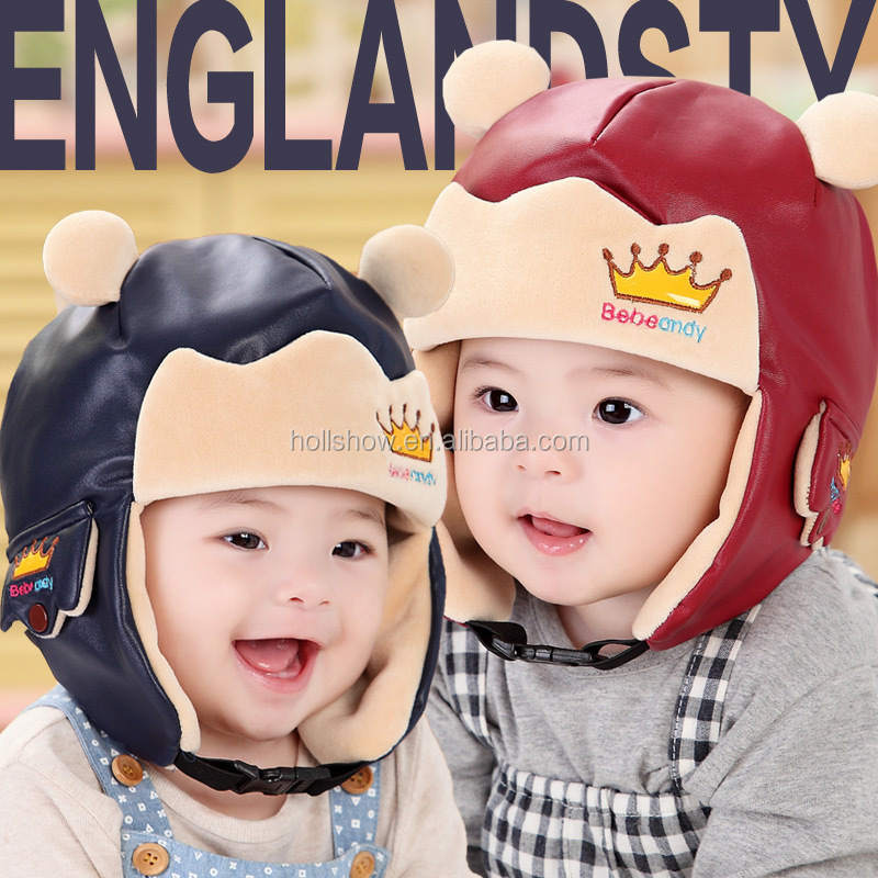 Autumn Winter Latest Leather Fleece Crown Logo Embroidery Baby Kids Earflap Hat