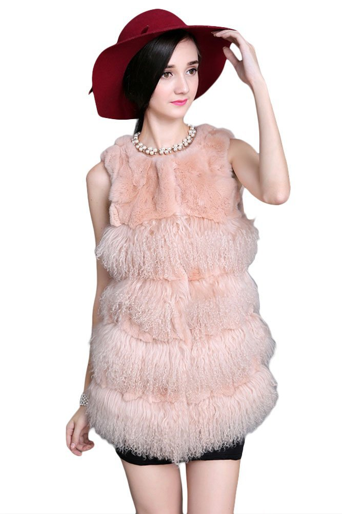 Queenshiny New style Women's 100% Real Rex Rabbit and Wool Fur Vest