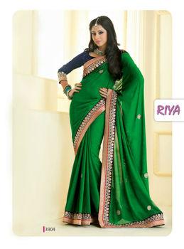 eb88f89a8f4 Riya Simple Plain Collection Green Saree - Buy Peacock Green ...
