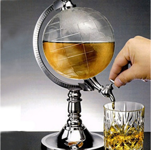 2017 High Quality Novelty Globe Shaped Beverage Liquor Dispenser Drink Wine Beer Pump Single Canister Pump Bar Wine Dispenser