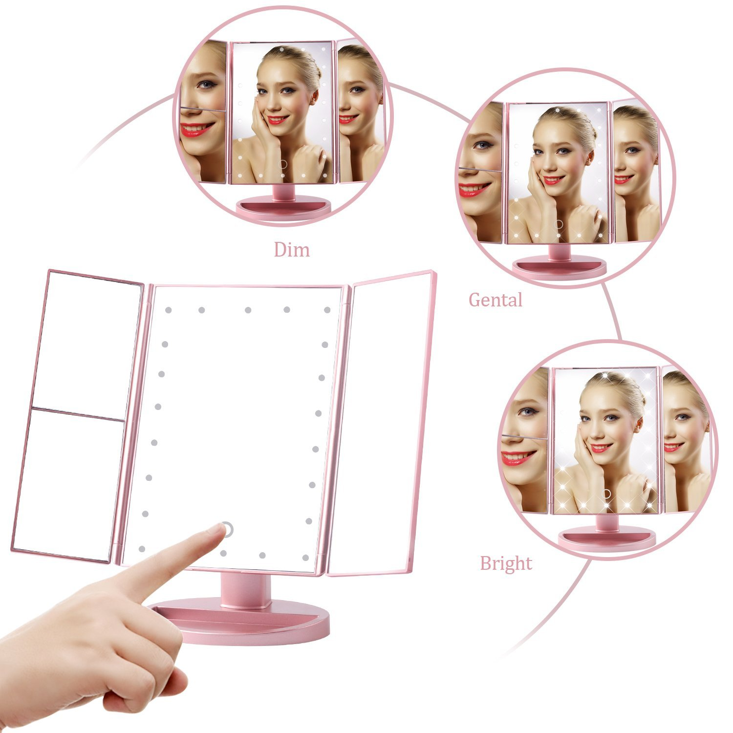 LED Make up Mirror trifold 3X 2X 1X Magnifying Mirrors with Touch Screen and 180 Adjustable Stand Vanity Mirror