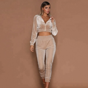 B33634A On sale Autumn winter Women active wear 2 pcs velvet tracksuits