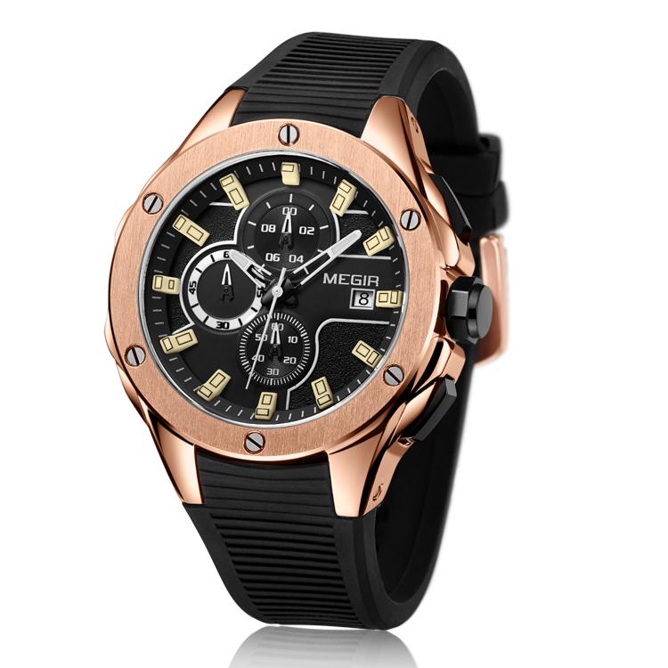 8c9594fd83e9 Reloj MEGIR 2053 reloj Megir Top para hombre marca de lujo de silicona azul  reloj cronógrafo