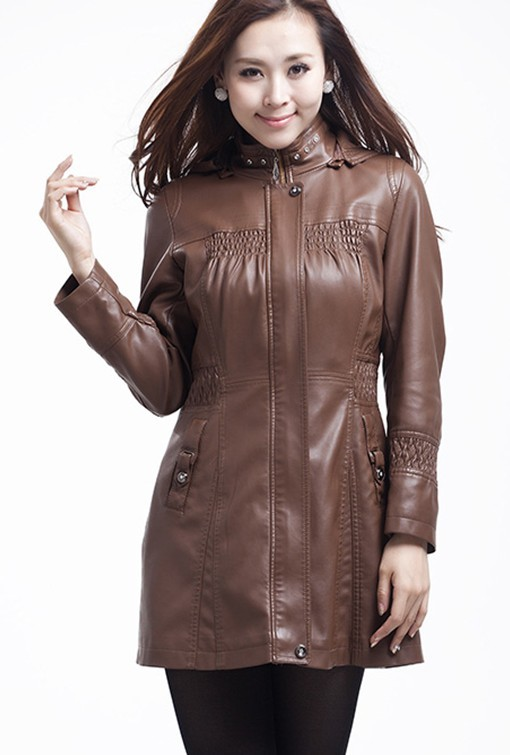 Leather coat women Spring 2015 new fashion leather jacket women long slim leather clothing female outerwear Plus size black