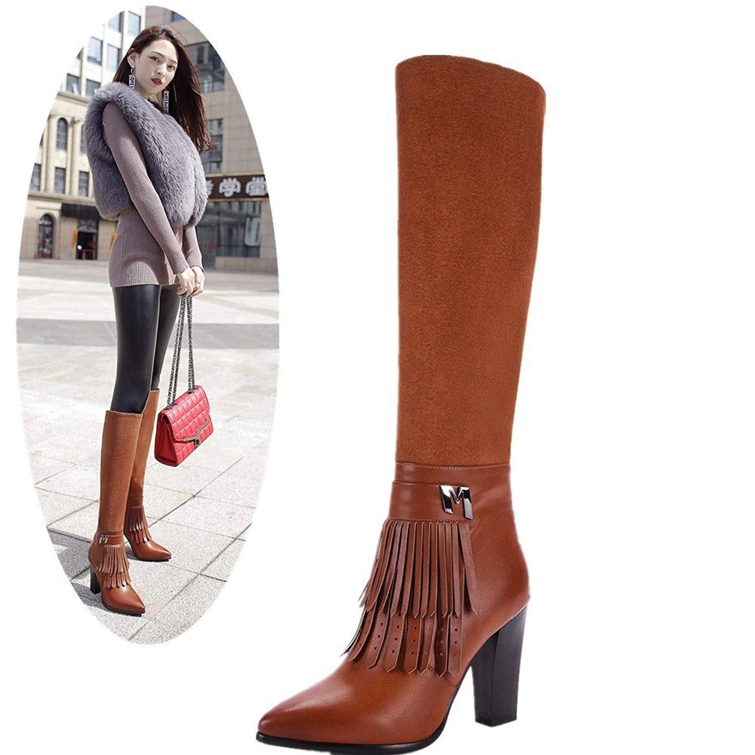 a368ecc5b54 Get Quotations · NIQI Women High Heel Boots Pointed Toe Knee High Heel  Fringe Boots Suede Leather Tall Boots