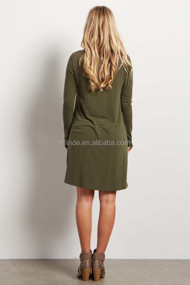26876eac312 Thailand Dress Online Shopping Bulk Wholesale Basic Olive Soft Midi Spring  Knit Maternity Dress Neck Designs