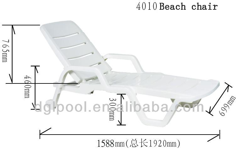 Sun Lounger Plastic Beach Chair