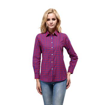 6c08043ab9b0 En La Primavera De 2016 De Las Nuevas Mujeres De Manga Larga Camisa A  Cuadros De Algodón Femenino Plus Tamaño Camiseta Blusa Casual Camisa - Buy  ...