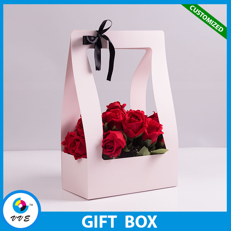 High Quality Flower Decorate Colorful Boutique Paper Gift Box Packing