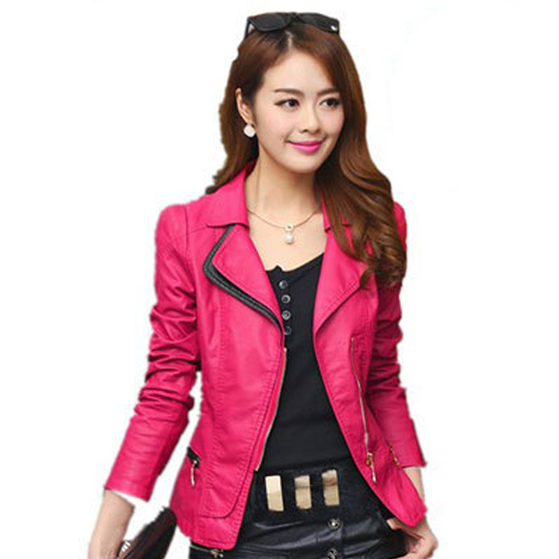2015 Fashion Washed PU Leather Motorcycle Jacket Leather Jacket Women Short Leather Large Size Slim Wholesale Red/Black S-4XL